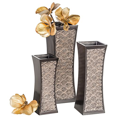 Dublin Decorative Vase Set Of 3 In Gift Box Durable Resin Flower Vase Set Decor Rustic Decorated Dining Table Centerpiece Vases Home Accents For Living Room Bedroom Kitchen More Brown