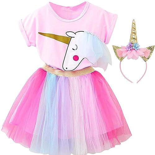 JUMJEE Girls Layered Rainbow Tutu Skirt Set with Unicorn Tshirt Headband /& Satin Sash