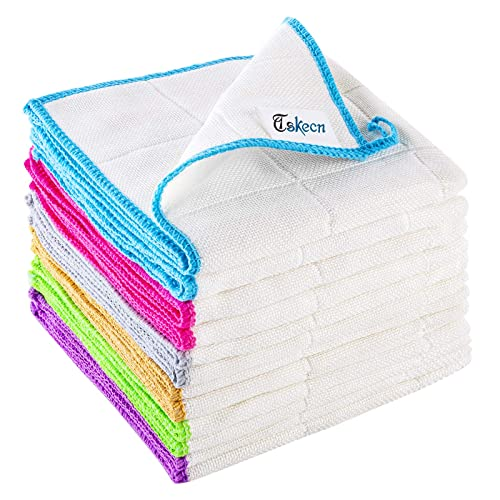 Buy 12 Pcs Bamboo Fiber Cleaning Cloth Strong Absorbent Soft Kitchen Towels With Hanging Loop Dishcloths Tea Towel For House Kitchen Car Window 12 X 12 Online In Japan B08dcjpglh
