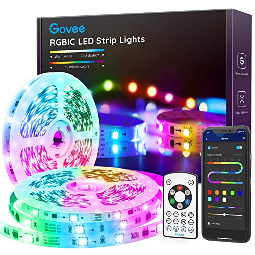 App /& Remote Control Light Strip for Bedroom Party 2/×16.4FT Music Mode 32.8FT Bluetooth Color Picking LED Lights with Segmented Color Control Govee RGBIC LED Strip Lights Kitchen Livingroom