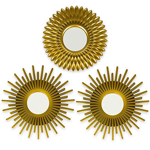 Gold Round Mirrors For Wall Decor, Gold Circles Mirror Wall Decoration