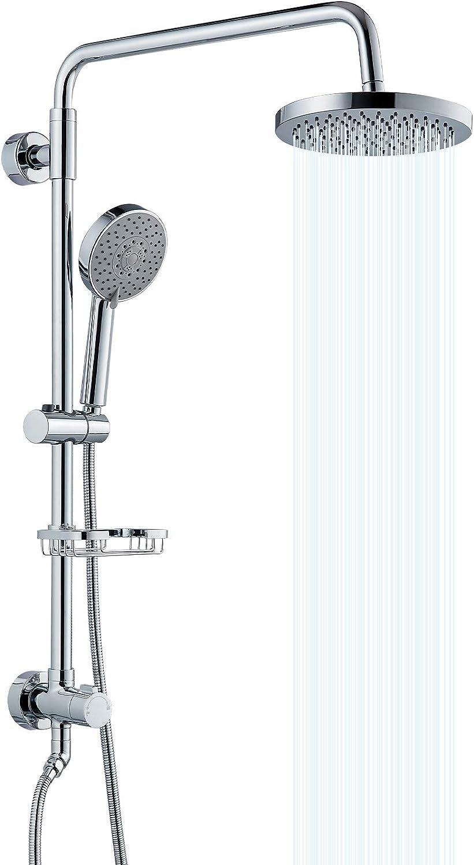 Airuida Brass Retrofit Shower System Chrome Polish 20 Inch ABS Rain Shower  Head With 20 Functions Handheld Sprayer And Adjustable Slide Bar Soap Dish  ...